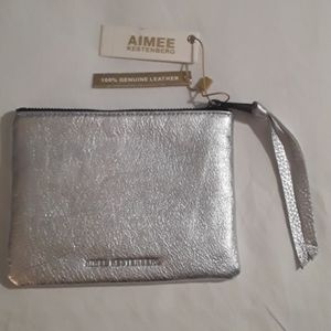 Aimee Kestenburg Silver Metallic Leather Pouch